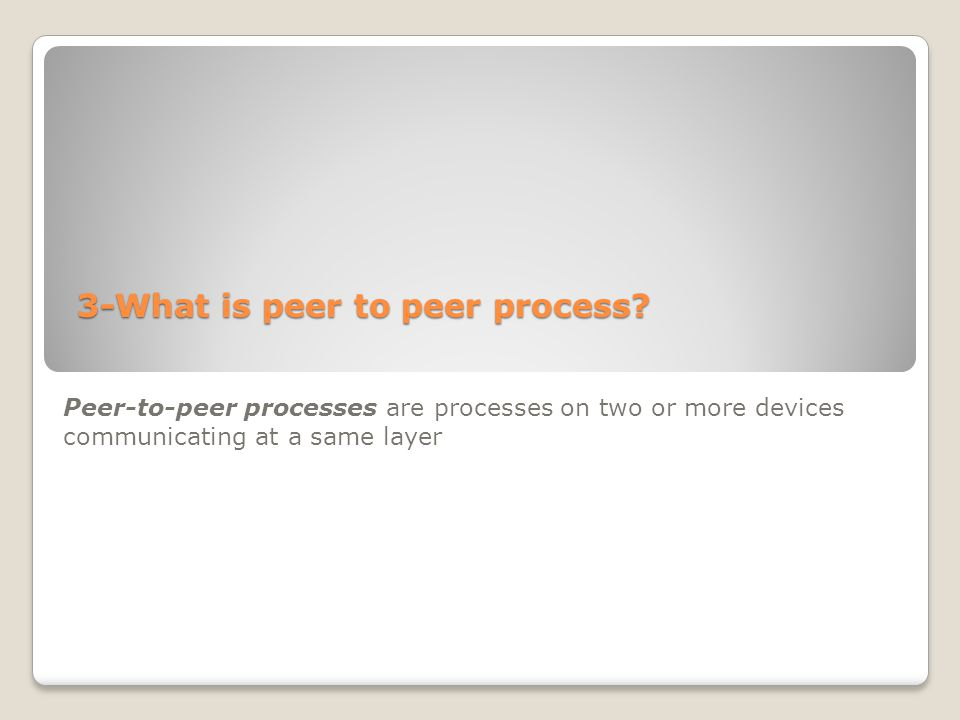 3-What is peer to peer process