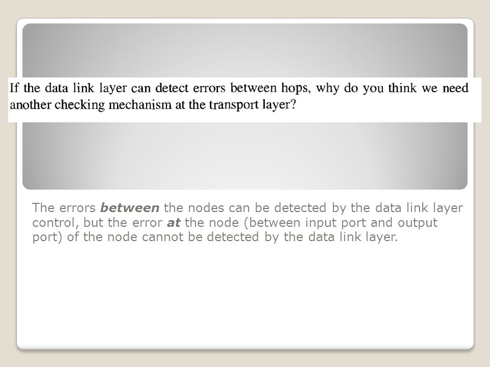 The errors between the nodes can be detected by the data link layer control, but the error at the node (between input port and output port) of the node cannot be detected by the data link layer.