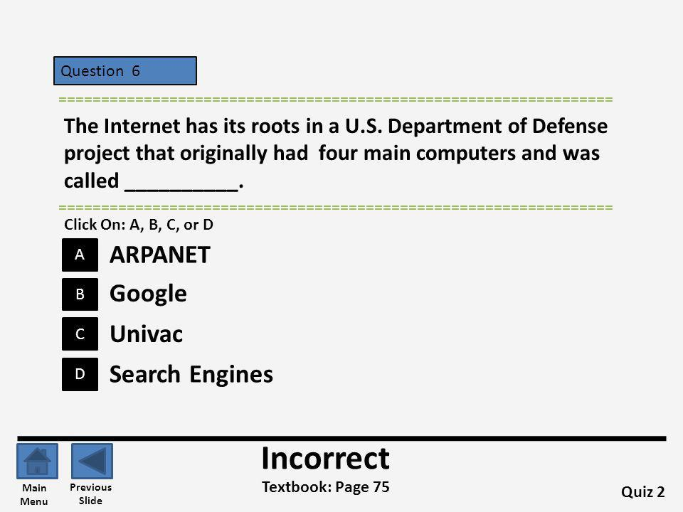 Incorrect ARPANET Google Univac Search Engines