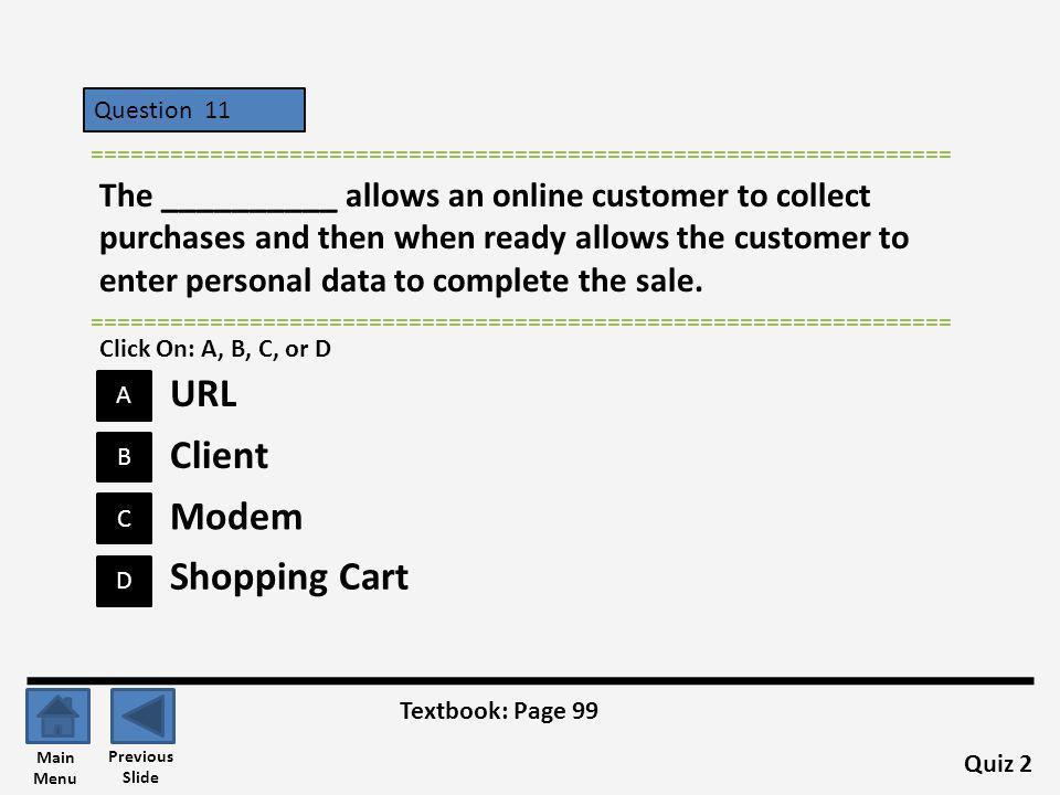 URL Client Modem Shopping Cart