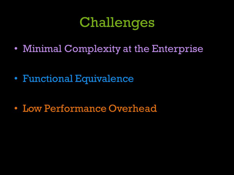 Challenges Minimal Complexity at the Enterprise Functional Equivalence