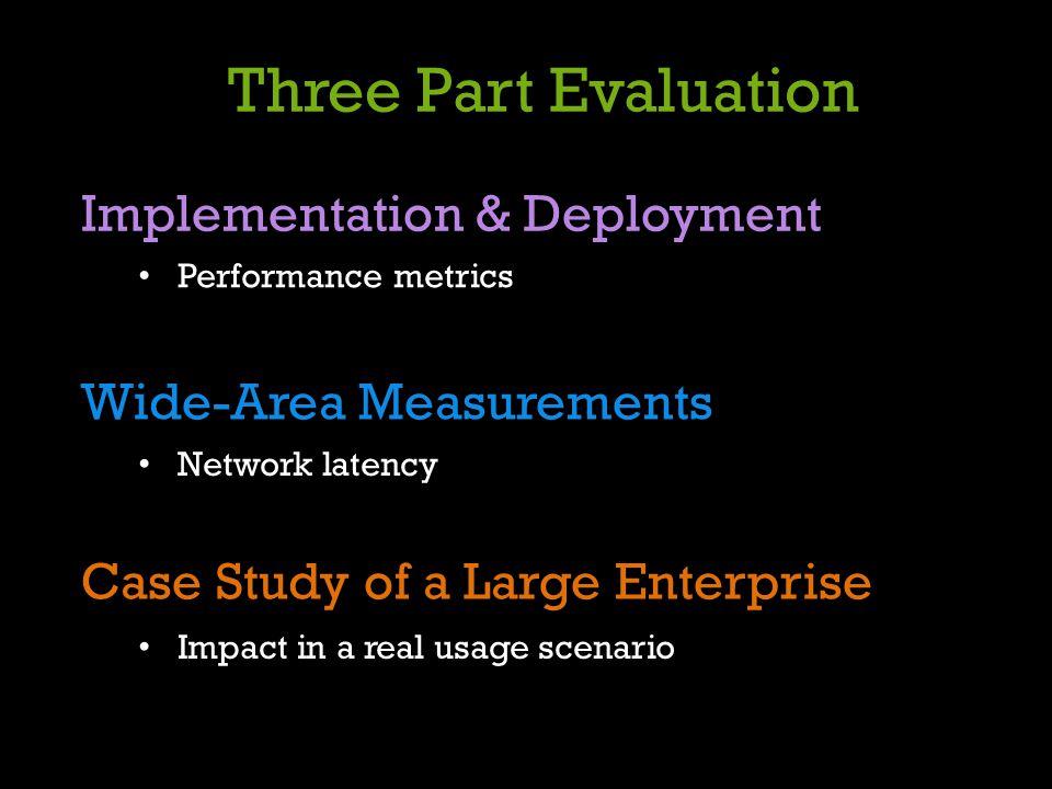 Three Part Evaluation Implementation & Deployment