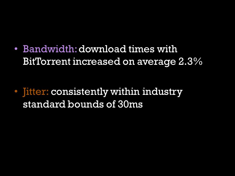 Bandwidth: download times with BitTorrent increased on average 2.3%