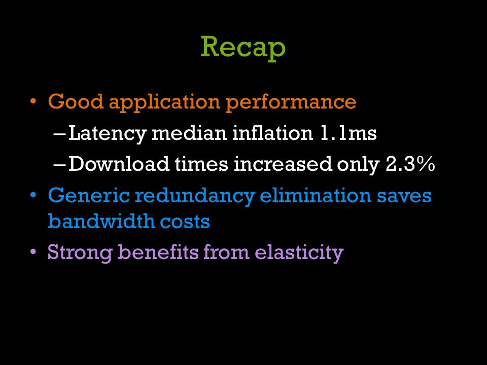Recap Good application performance Latency median inflation 1.1ms