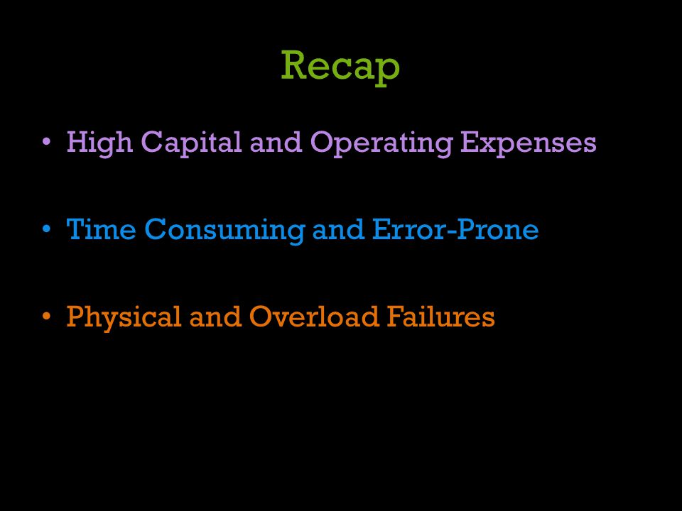 Recap High Capital and Operating Expenses