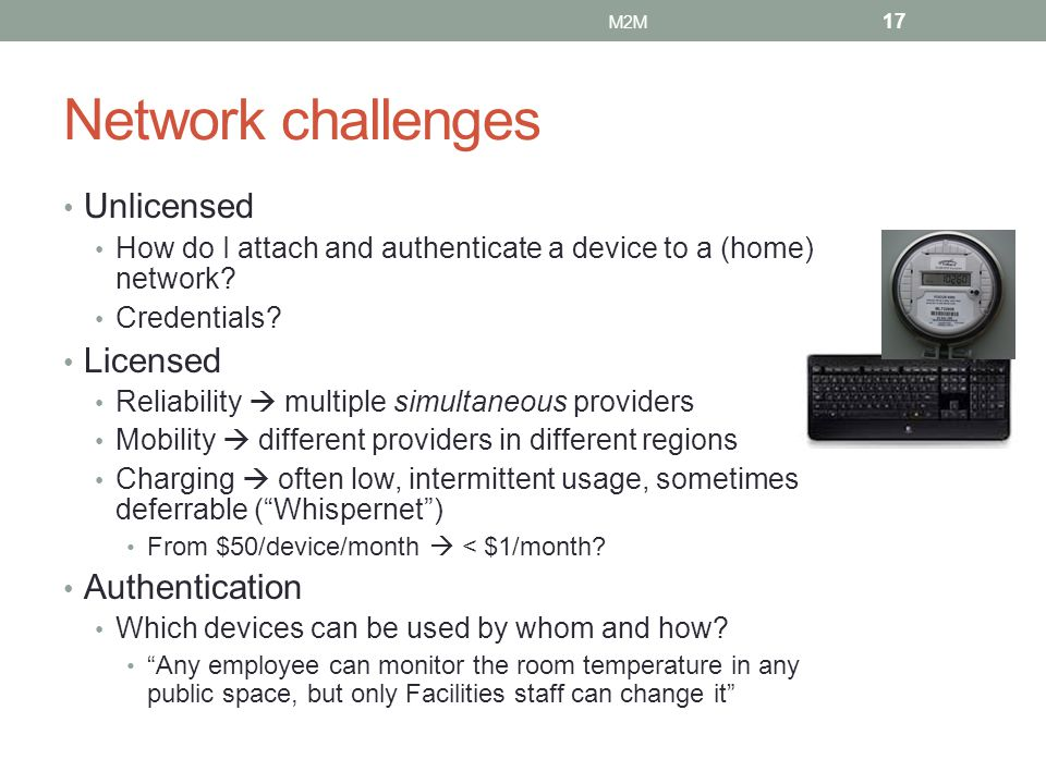 Network challenges Unlicensed Licensed Authentication