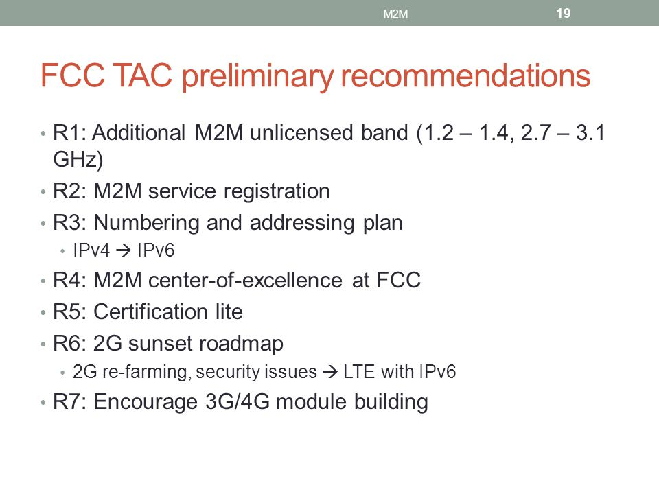 FCC TAC preliminary recommendations