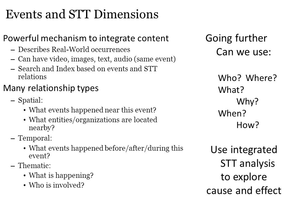 Events and STT Dimensions