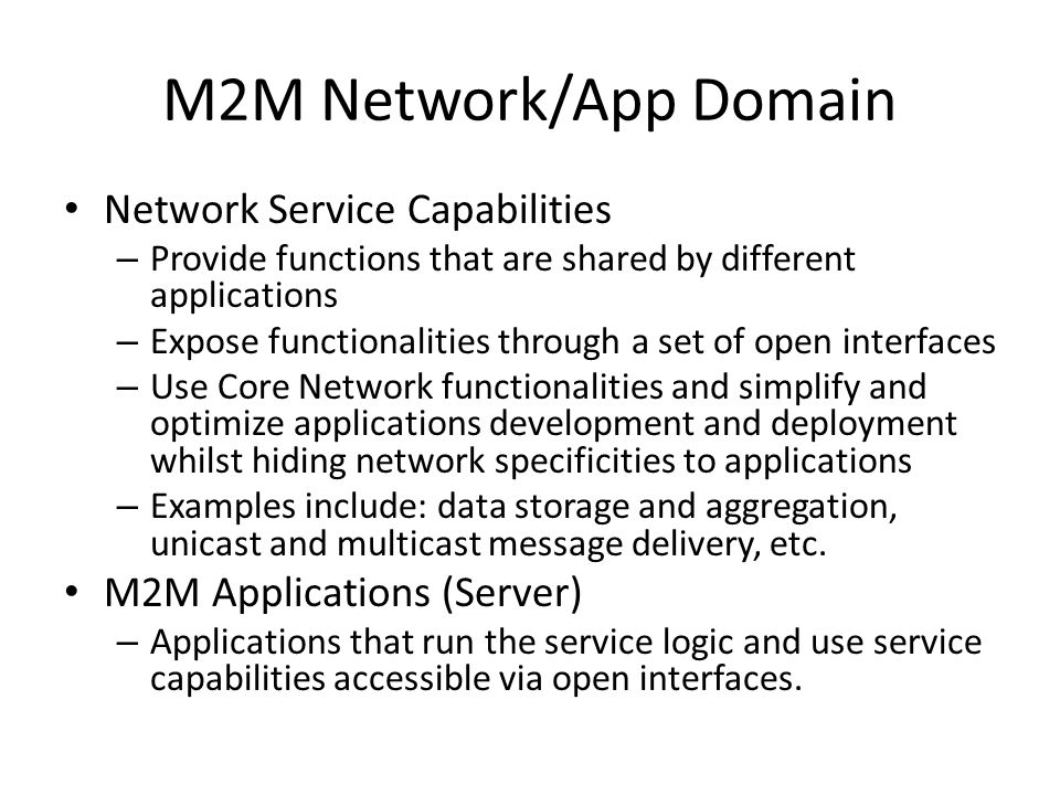 M2M Network/App Domain Network Service Capabilities