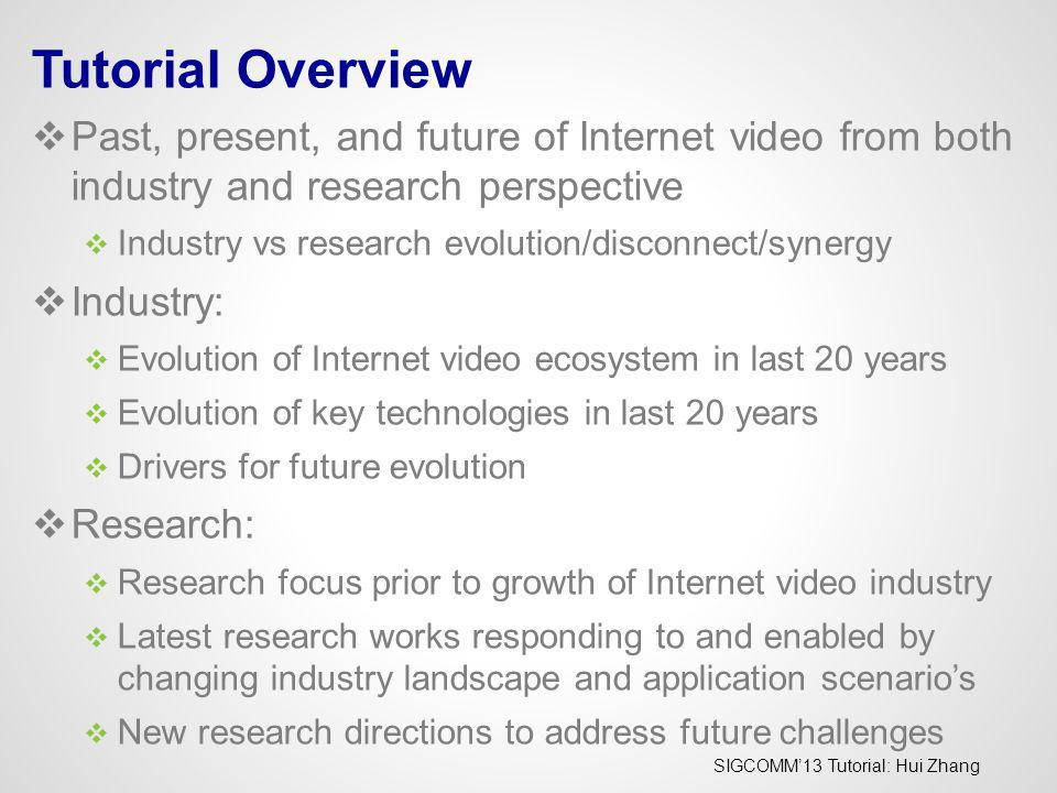 Tutorial Overview Past, present, and future of Internet video from both industry and research perspective.