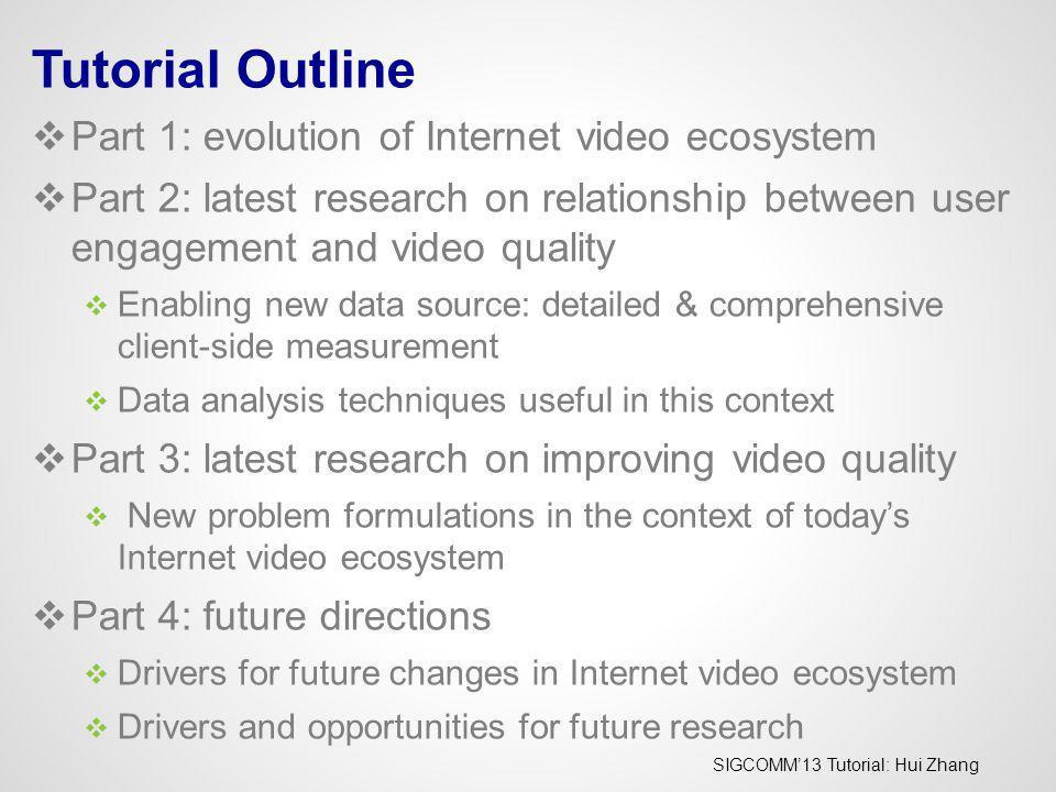 Tutorial Outline Part 1: evolution of Internet video ecosystem