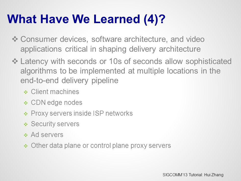 What Have We Learned (4) Consumer devices, software architecture, and video applications critical in shaping delivery architecture.