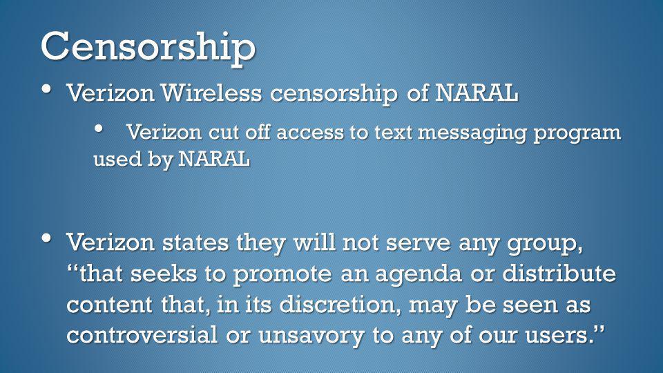 Censorship Verizon Wireless censorship of NARAL
