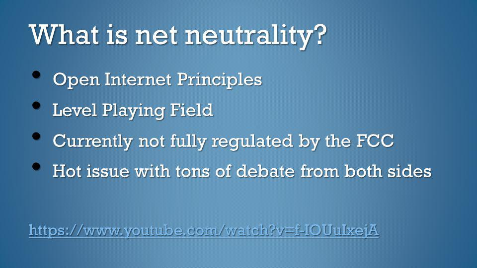What is net neutrality Open Internet Principles Level Playing Field
