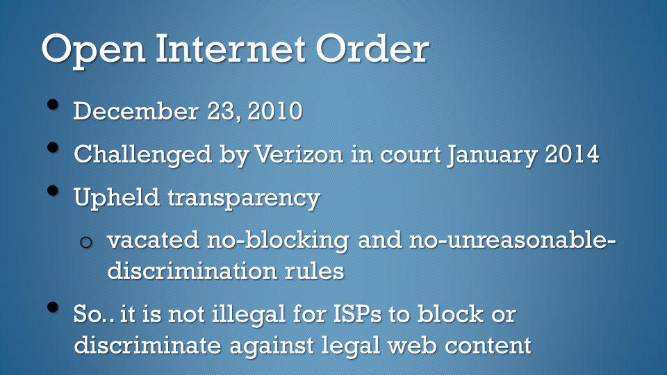 Open Internet Order December 23, 2010