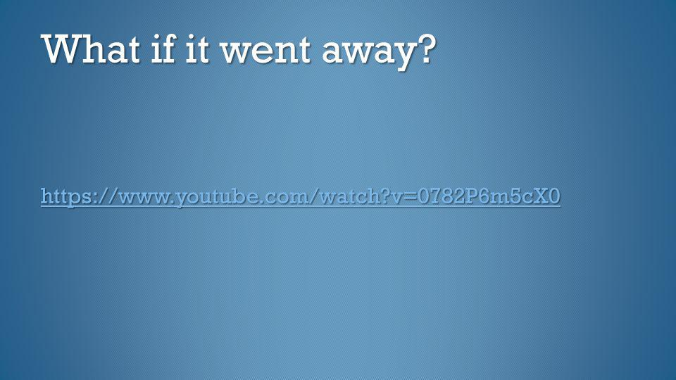 What if it went away https://www.youtube.com/watch v=0782P6m5cX0