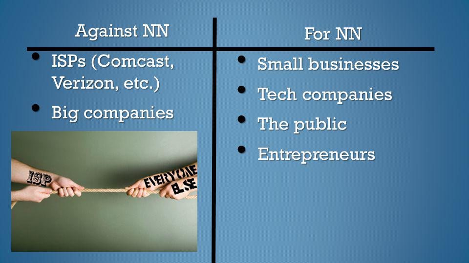 Against NN ISPs (Comcast, Verizon, etc.) Big companies. For NN. Small businesses. Tech companies.