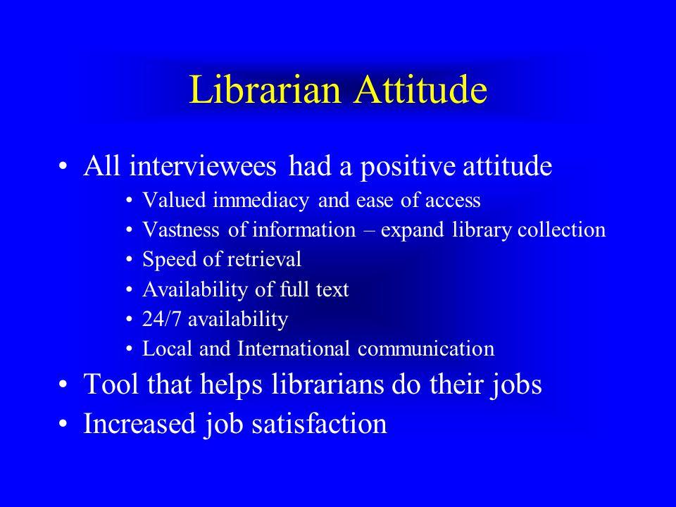 Librarian Attitude All interviewees had a positive attitude