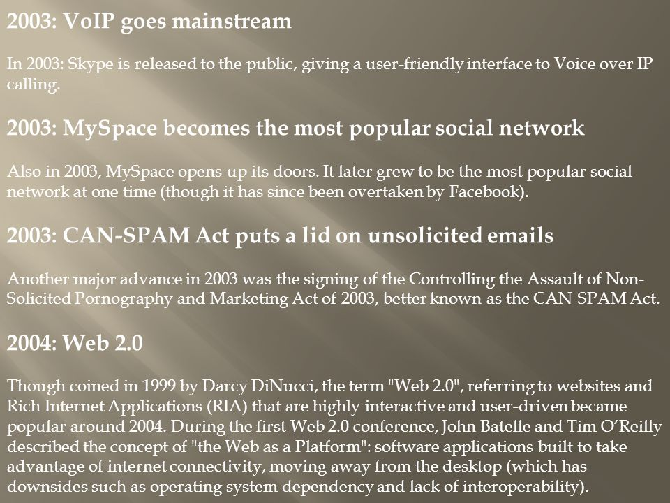 2003: MySpace becomes the most popular social network