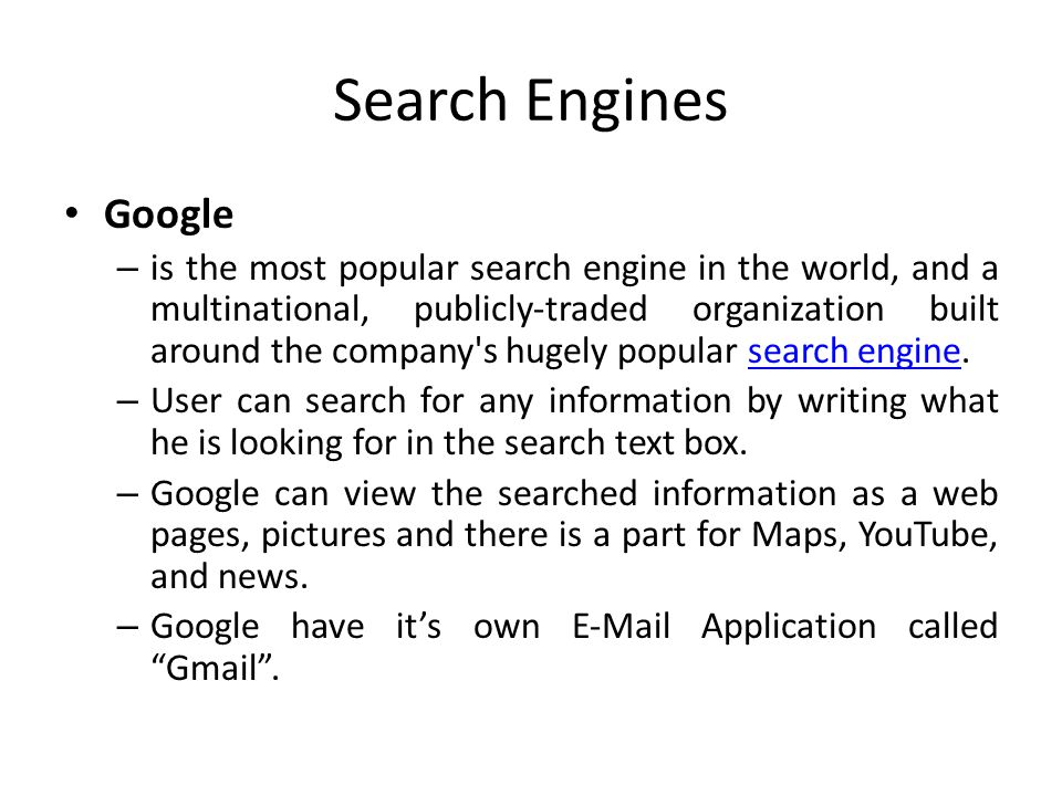 Search Engines Google.
