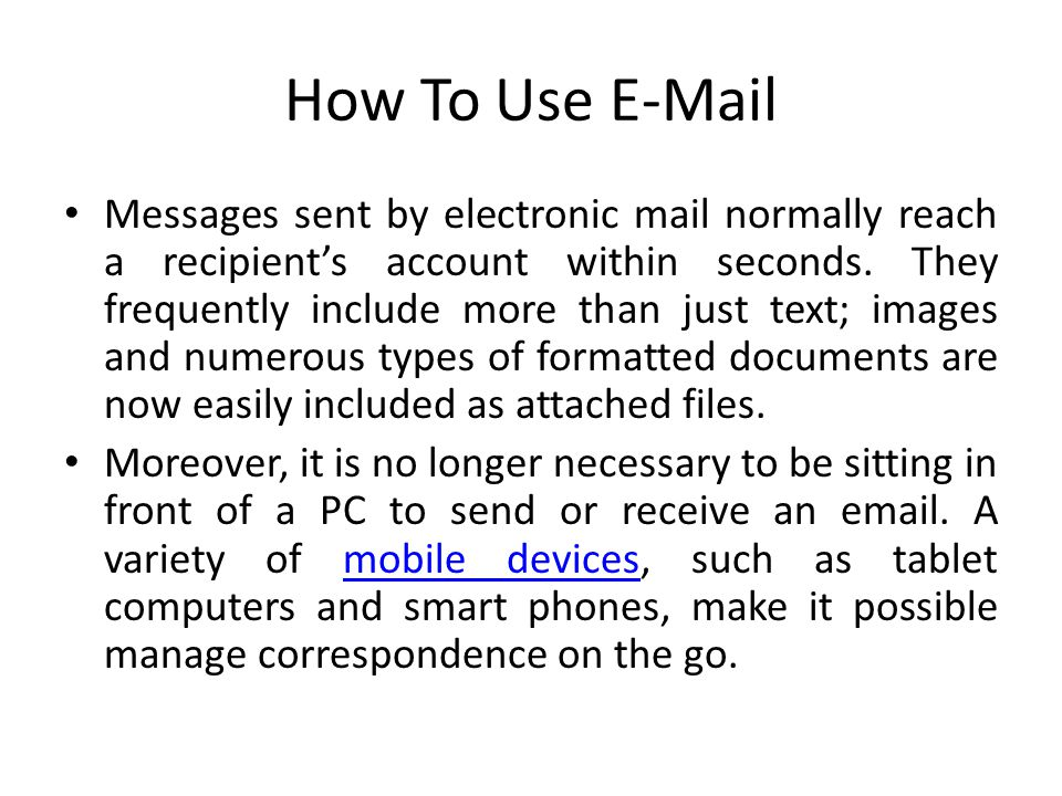 How To Use E-Mail