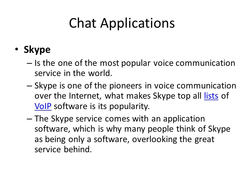 Chat Applications Skype