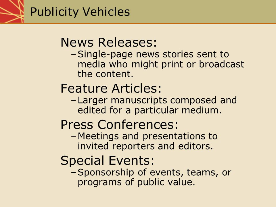 News Releases: Feature Articles: Press Conferences: Special Events: