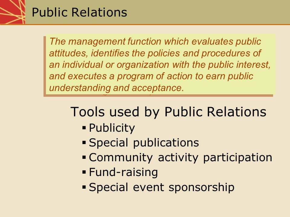 Tools used by Public Relations