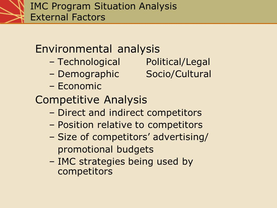 IMC Program Situation Analysis External Factors