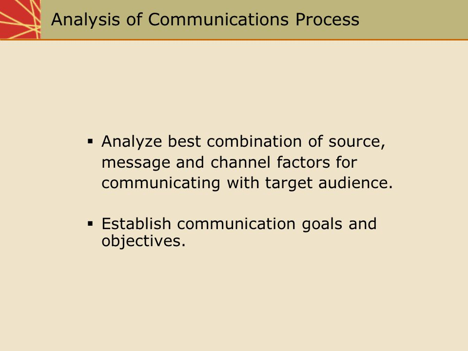 Analysis of Communications Process