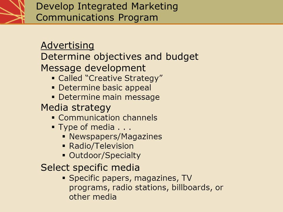 Develop Integrated Marketing Communications Program