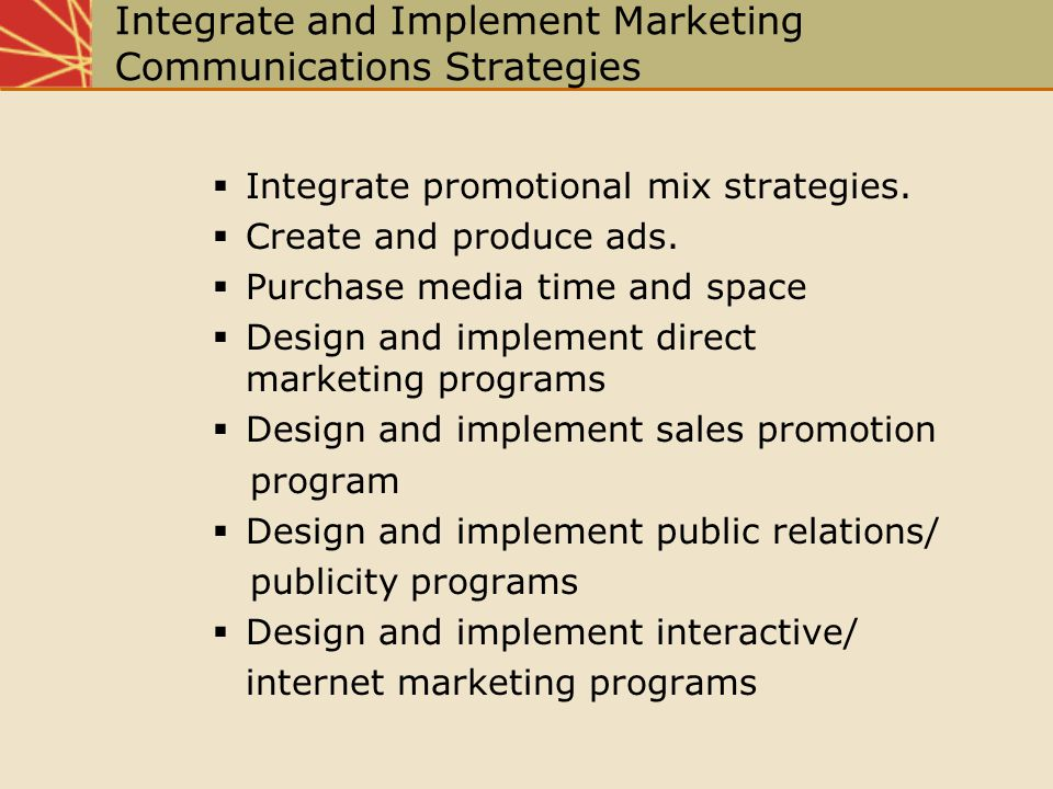 Integrate and Implement Marketing Communications Strategies