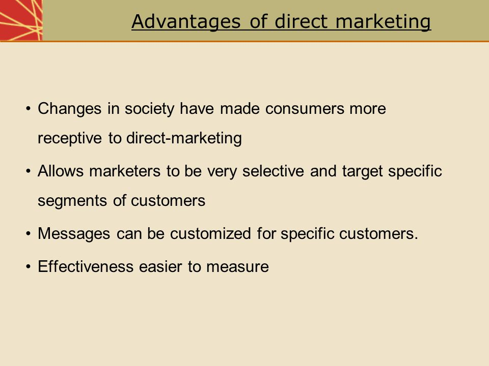 Advantages of direct marketing