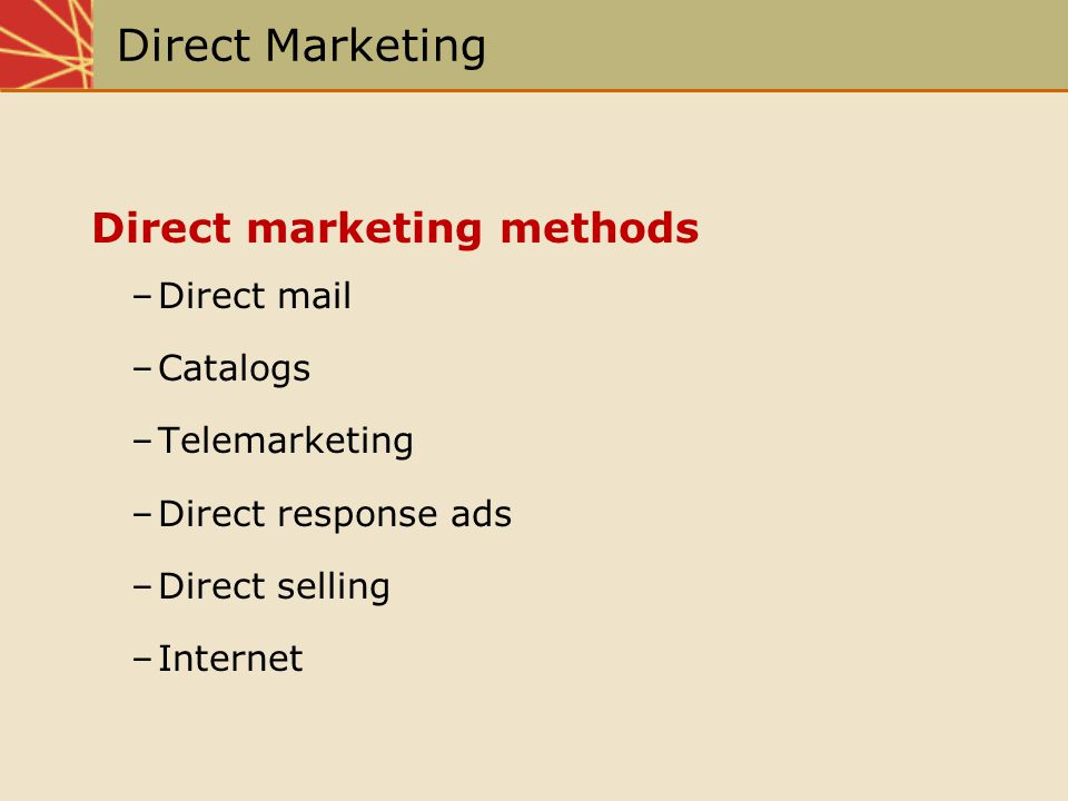Direct Marketing Direct marketing methods Direct mail Catalogs