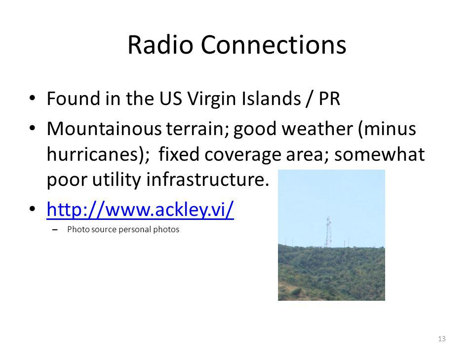 Radio Connections Found in the US Virgin Islands / PR