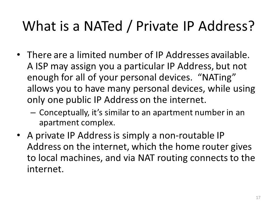 What is a NATed / Private IP Address