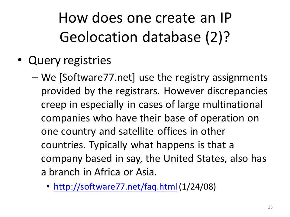 How does one create an IP Geolocation database (2)