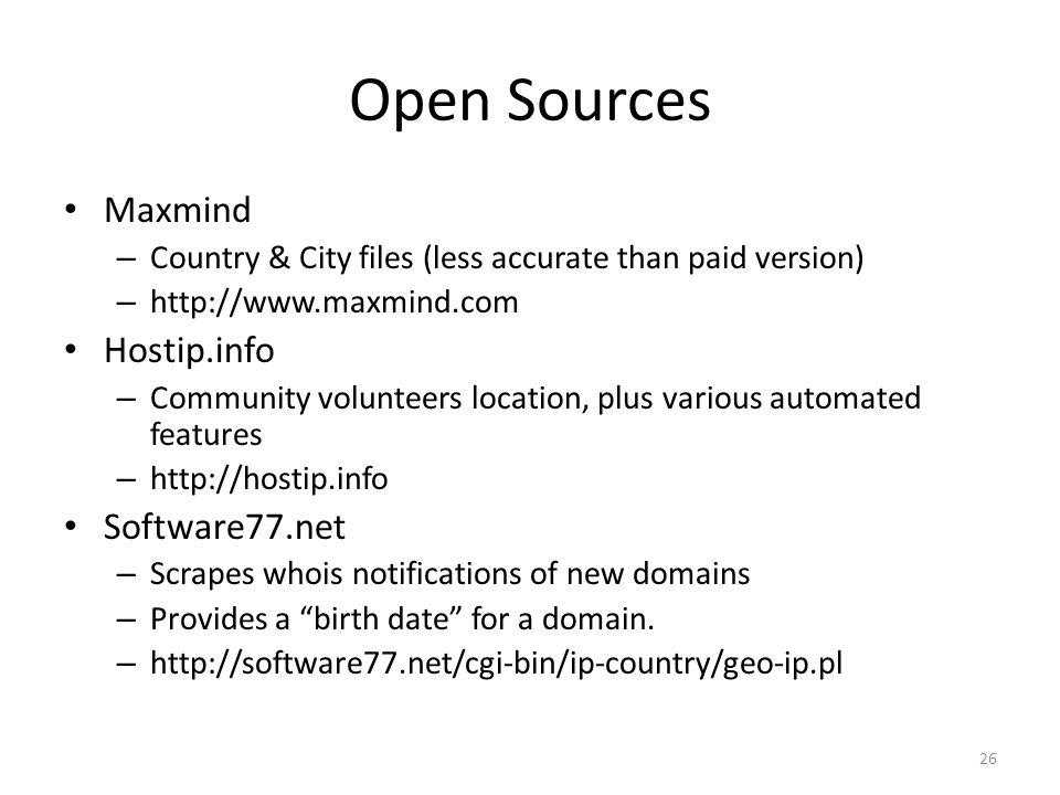 Open Sources Maxmind Hostip.info Software77.net