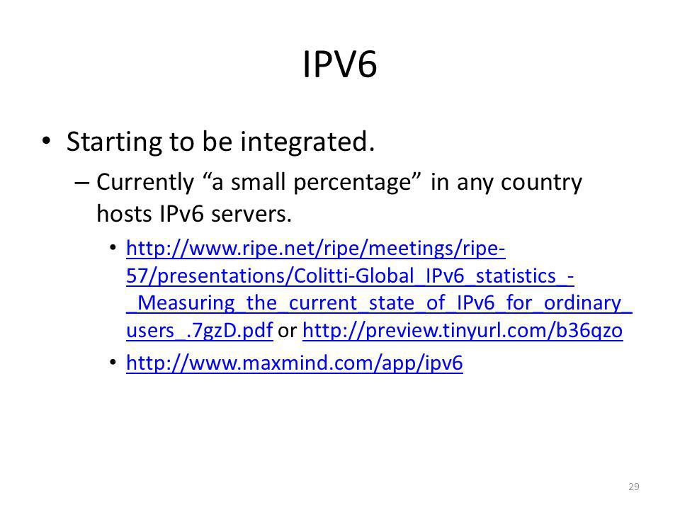 IPV6 Starting to be integrated.