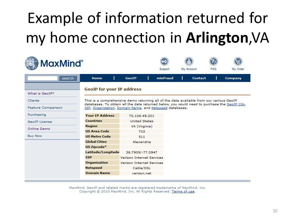 Example of information returned for my home connection in Arlington,VA