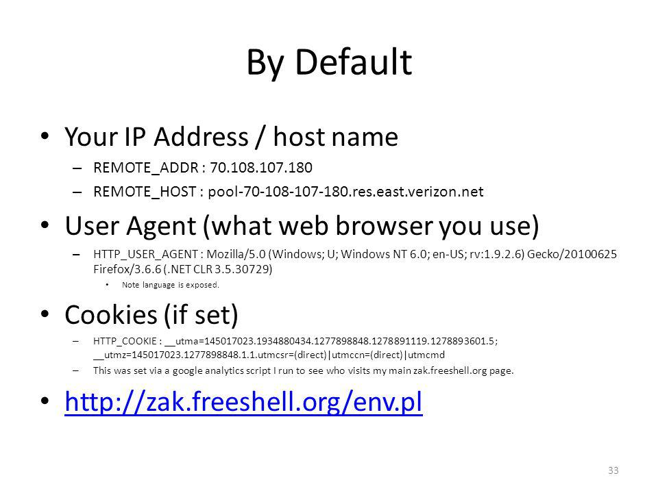 By Default Your IP Address / host name