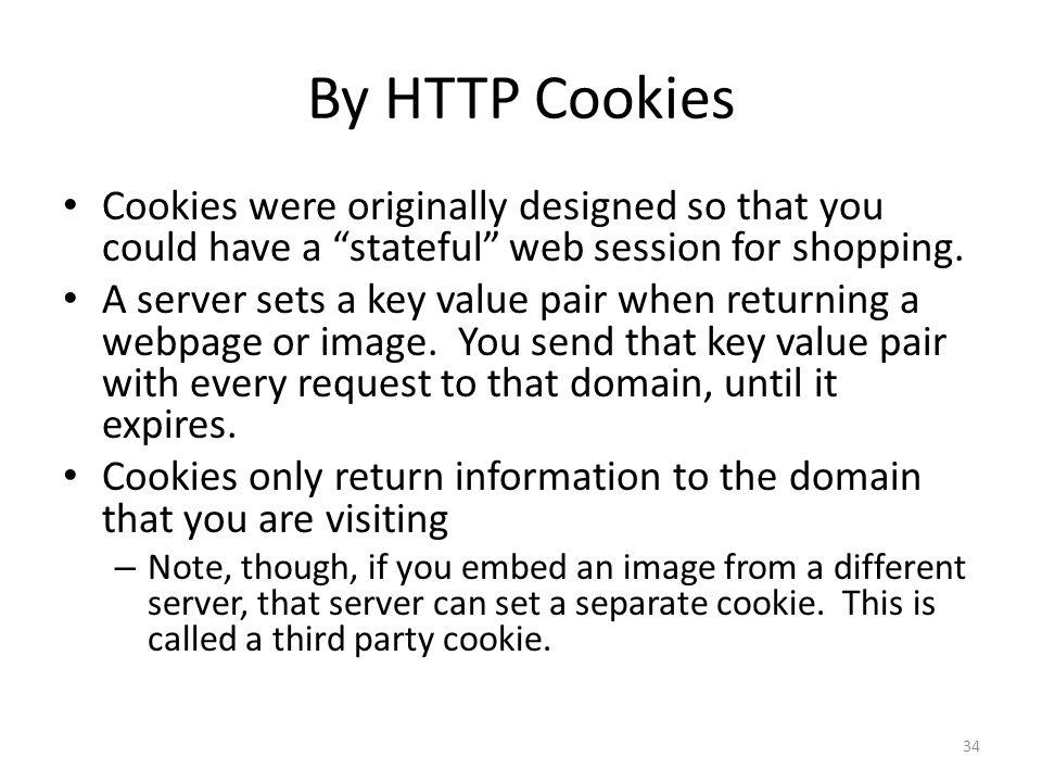 By HTTP Cookies Cookies were originally designed so that you could have a stateful web session for shopping.