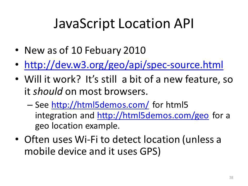 JavaScript Location API