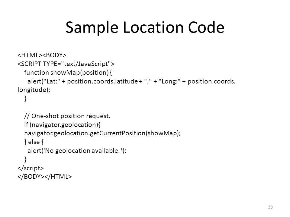Sample Location Code <HTML><BODY>