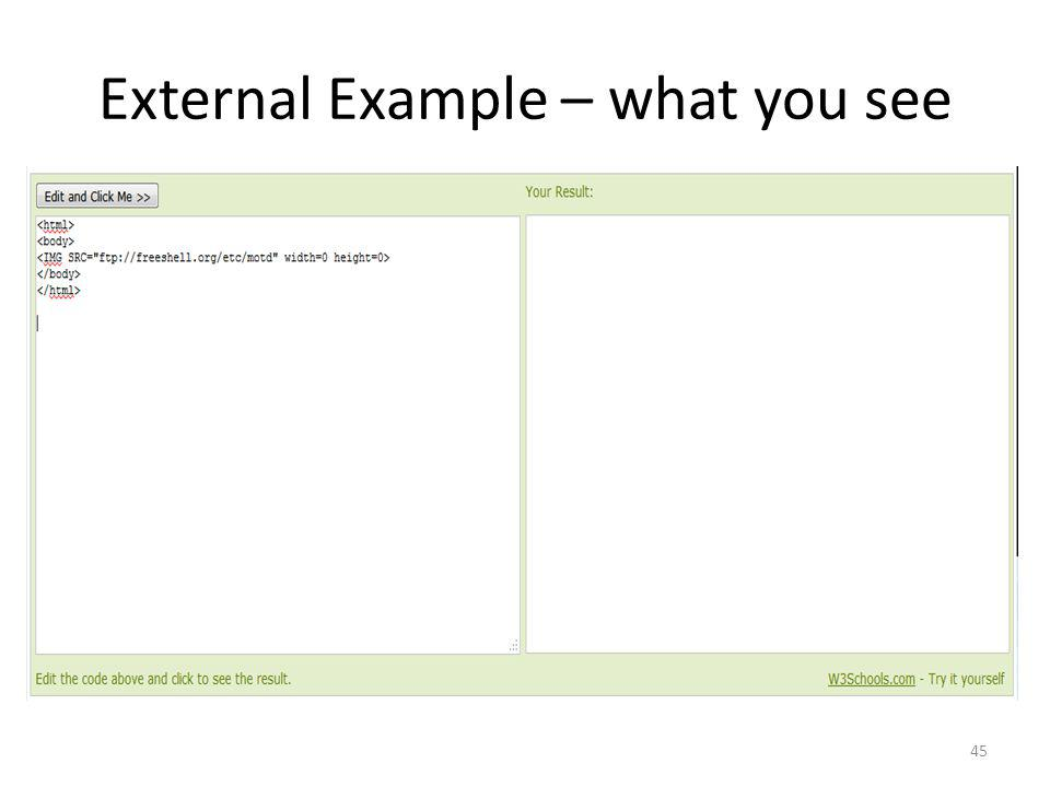 External Example – what you see