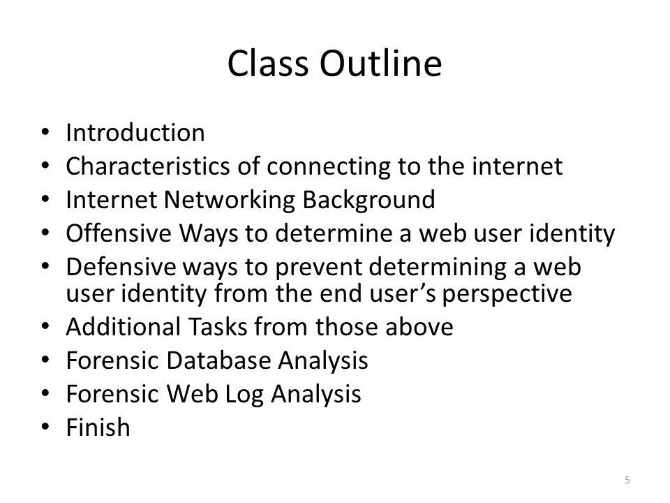 Class Outline Introduction