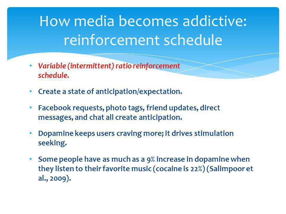 How media becomes addictive: reinforcement schedule