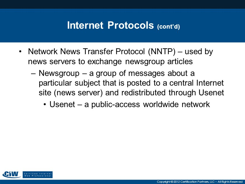 Internet Protocols (cont'd)