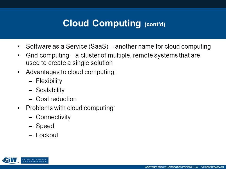 Cloud Computing (cont d)