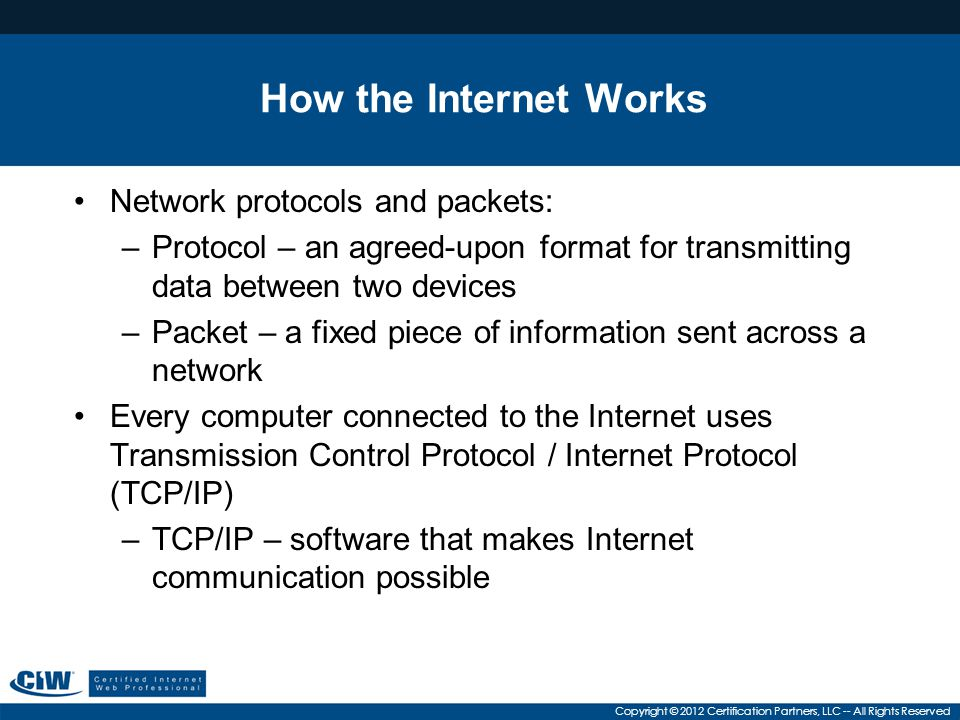 How the Internet Works Network protocols and packets: